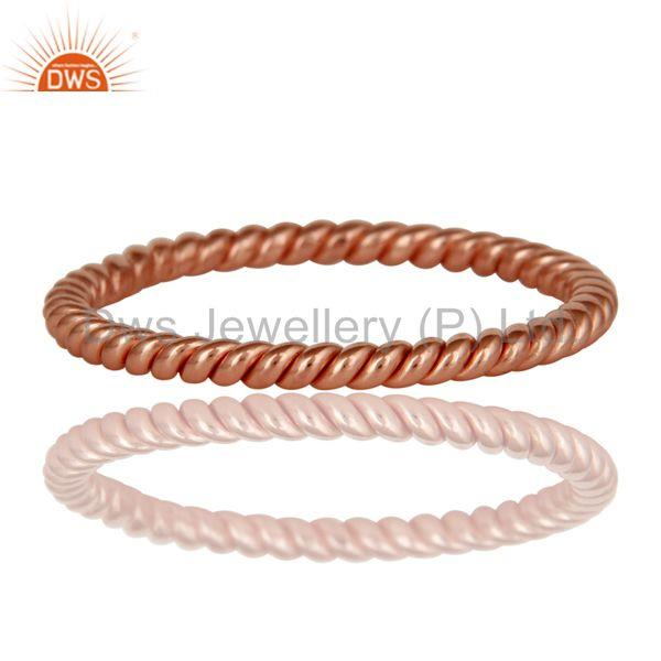 Manufacturer of 22K Rose Gold Plated 925 Sterling Silver Handmade Art Deco Band Ring Jewellery