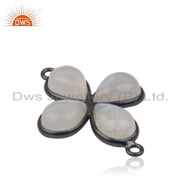 Wholesale Rainbow Moonstone Black Brass Fashion Connectors Jewelry Manufacturer