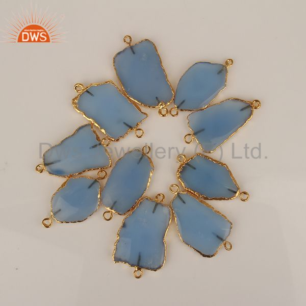 Wholesale Blue Chalcedony Connectors,Handmade Connector,Electroplated Gemstones Connector