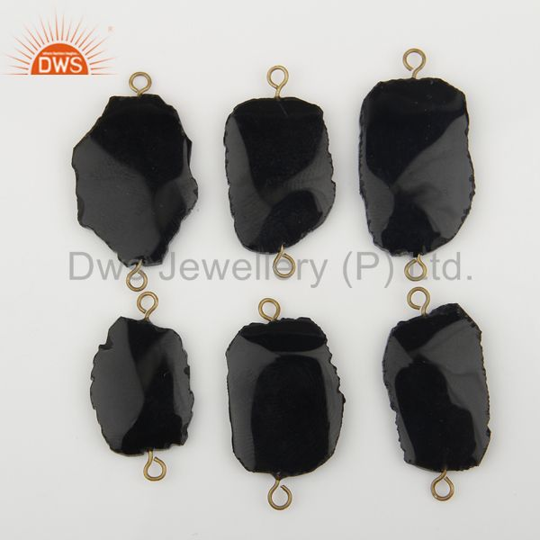 Wholesale Black Onyx Connectors,Handmade Connector,Electroplated Gemstones Connector