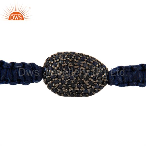 Supplier of 925 Sterling Silver Natural Sapphire Gemstone Pave Bead Macrame Hemp Bracelet