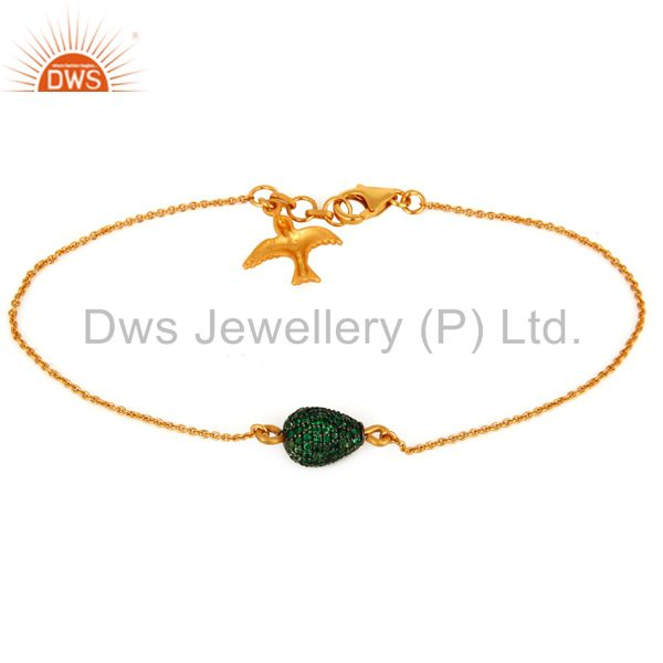 Supplier of Gold Plated 925 Silver Tsavorite Pave Bead Chain Flying Brid Charm Bracelet