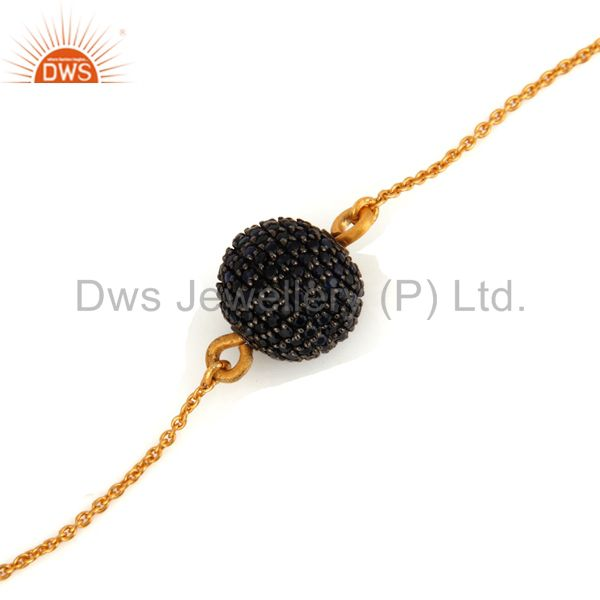 Wholesale 18K Gold Over Sterling Silver Blue Sapphire Pave Beads Chain Beautiful Bracelets
