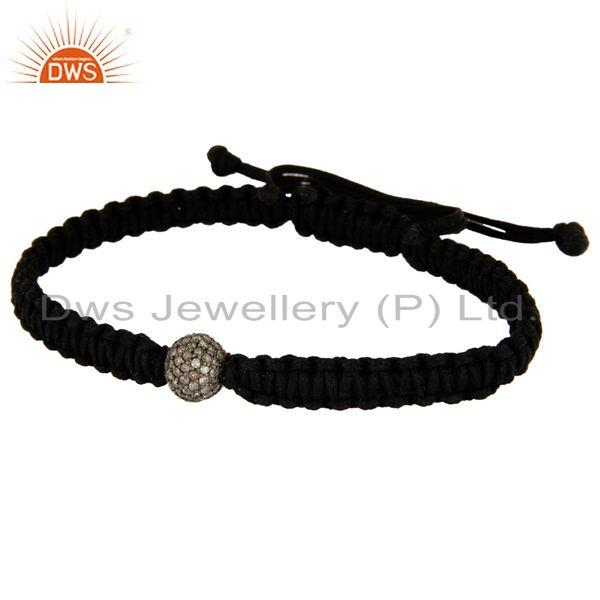 Manufacturer of 925 Sterling Silver Diamond Pave Beads Macrame Bracelet Fashion Jewelry