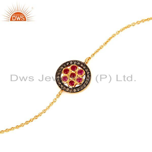 Supplier of 18K Yellow Gold Plated Sterling Silver Pave Set Diamond & Ruby Chain Bracelet