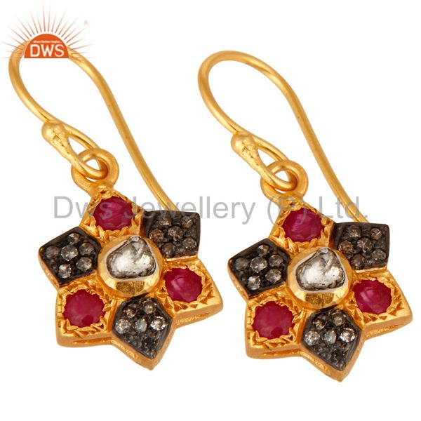 Manufacturer of 18K Yellow Gold Over 925 Sterling Silver Rose Cut Diamond Ruby Gemstone Earring