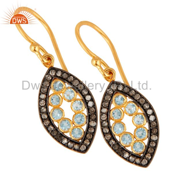 Supplier of 925 Sterling Silver Natural Blue Topaz Gemstone Pave Diamond Dangle Earrings