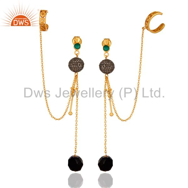 Wholesale 14K Gold Over Sterling Silver Pave Diamond & Black Onyx Chain Ear Cuff Earrings