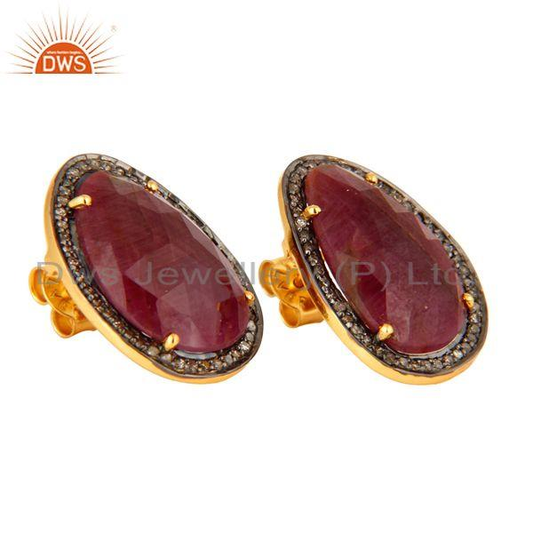 Manufacturer of 925 Sterling Silver Pave Setting Diamond Ruby Victorian / Antique Stud Earrings