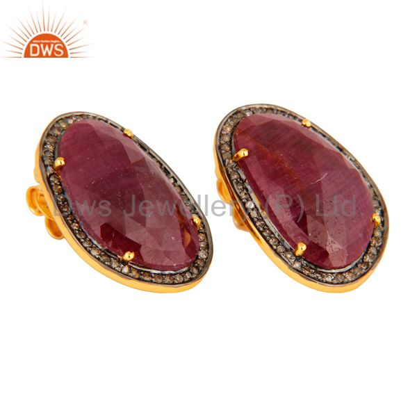 Manufacturer of Natural Ruby Earrings 0.538 ct Diamonds Pave Set Sterling Silver Studs Earrings