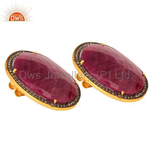 Wholesale Handmade 925 Sterling Silver Ruby And Pave Diamond Womens Stud Earrings