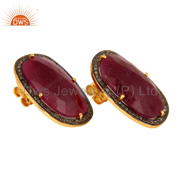 Supplier of Handmade Sterling Silver Pave Diamond Real Ruby Gemstone Stud Wedding Earrings