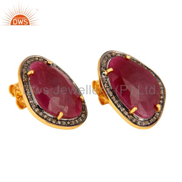 Manufacturer of Antique Look Sterling Silver Diamond Pave Ruby Gemstone Stud Bridal Earrings