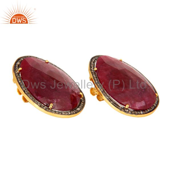 Manufacturer of Natural Ruby Gemstone Pave Diamond Stud Earrings In 18K Gold On Sterling Silver
