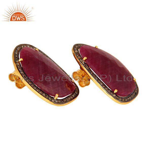 Supplier of Ruby Pave Set Diamond 925 Sterling Silver Ladys Retro Style Stud Earrings