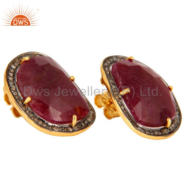 Manufacturer of Womens Bridal Fashion Sterling Silver Pave Diamond Ruby Gemstone Stud Earrings
