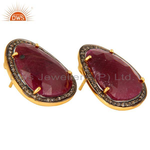 Wholesale 22K Gold Over Sterling Silver Faceted Gemstone Ruby Pave Diamond Studs Earrings