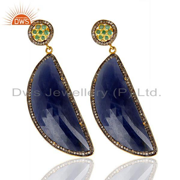 Wholesale Natural Diamond Blue Sapphire D Shape 14K Gold Plated 92.5 Dangle Earring