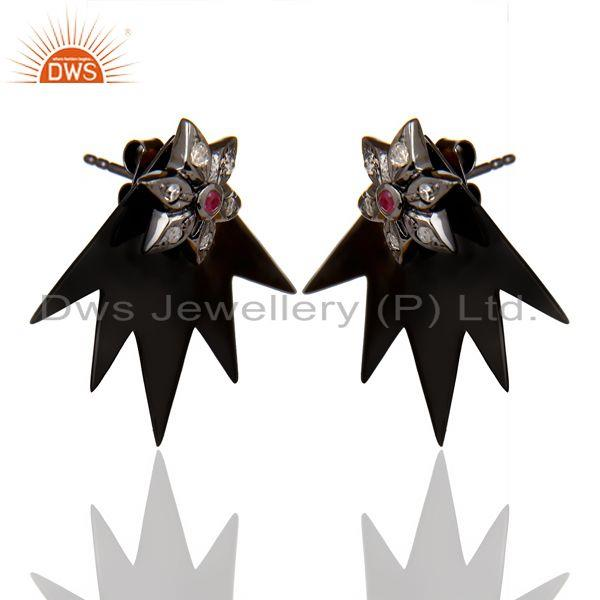 Manufacturer of Natural Diamond Ruby Two Way Star Earring Black Rhodium Plated Silver Earring