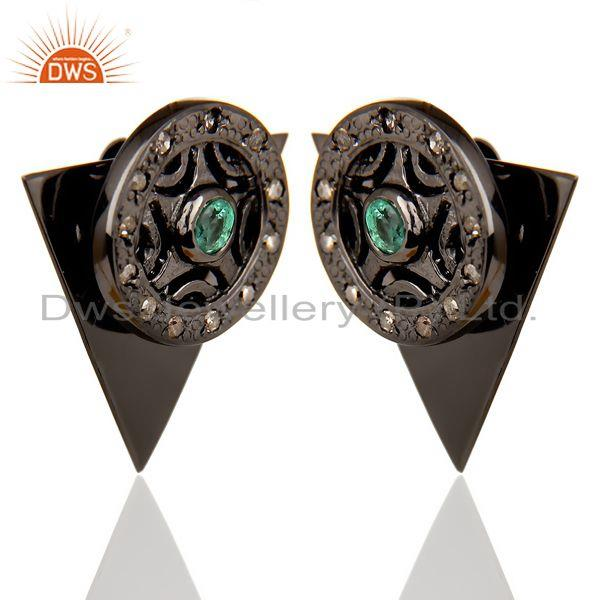 Wholesale Natural Diamond Emerald Two Way Triangle Earring Black Rhodium Silver Earring