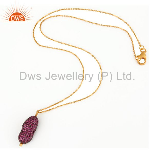 Wholesale 925 Sterling Silver Ruby Pave Gemstone Designer Pendant With 16