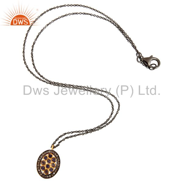 Supplier of Designer Iolite Gemstone Pave Diamond 925 Sterling Silver Women Pendant Necklace