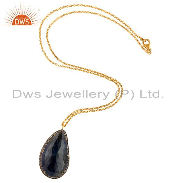 Manufacturer of 18K Gold Over Silver Diamond Pave Blue Sapphire Drop Pendant Gemstone Jewelry
