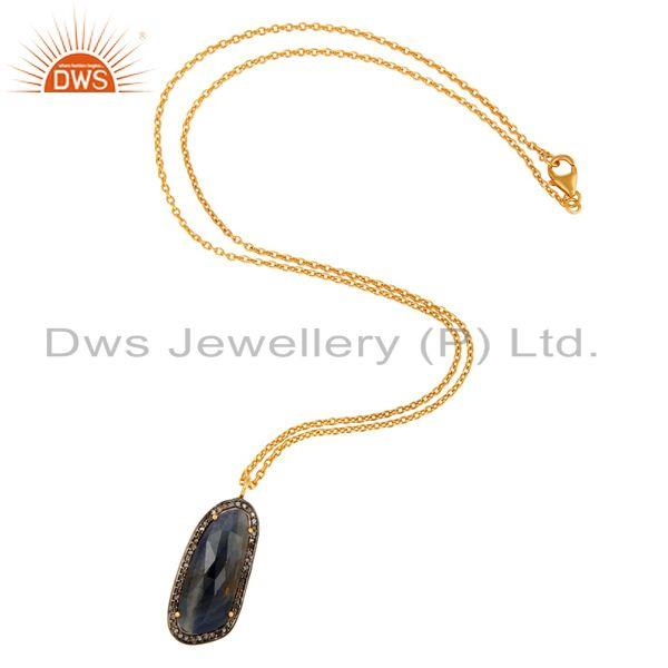 Manufacturer of 18K Gold Over Sterling Silver Studded With Diamond And Blue Sapphire Pendant