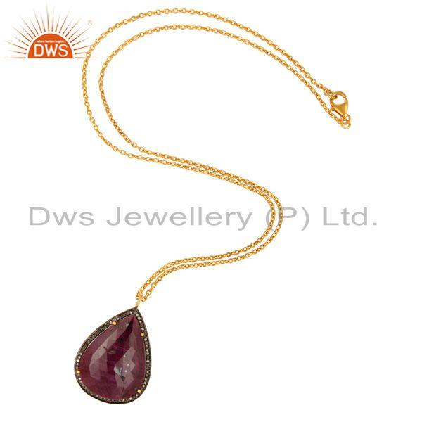 Wholesale 18K Gold Over Sterling Silver Diamond Accent Ruby Gemstone Pendant With Chain