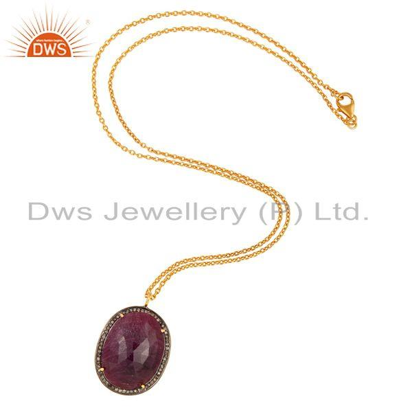 Supplier of Genuine Ruby Pave Diamond Designer Pendant 18k Gold Over Sterling Silver Jewelry