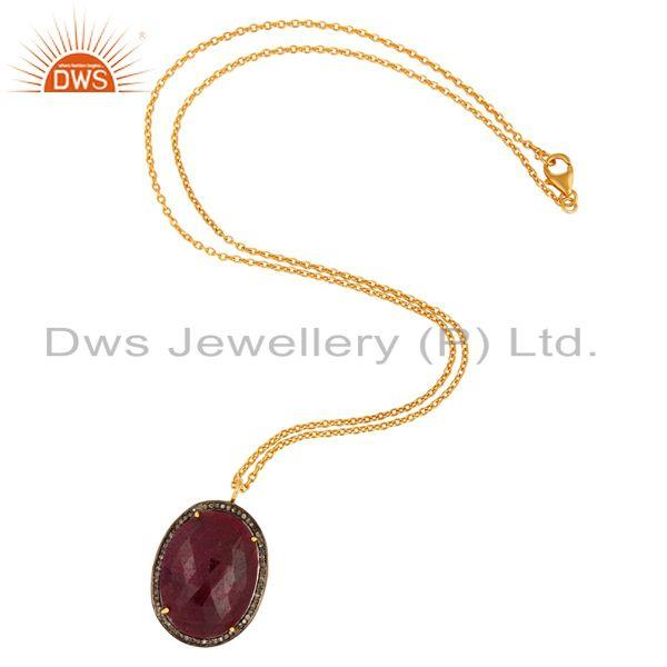 Manufacturer of Natural Ruby Pave Diamond 925 Sterling Silver Pendant Designer Handmade Jewelry