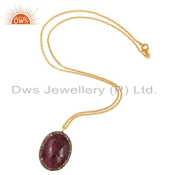 Wholesale Natural Ruby Gemstone Gold Plated Sterling Silver Pave Diamond Pendant Necklace