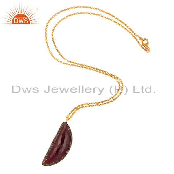 Manufacturer of Pave Diamond And Ruby Gemstone Necklaces & Pendant Sterling Silver Fine Jewelry
