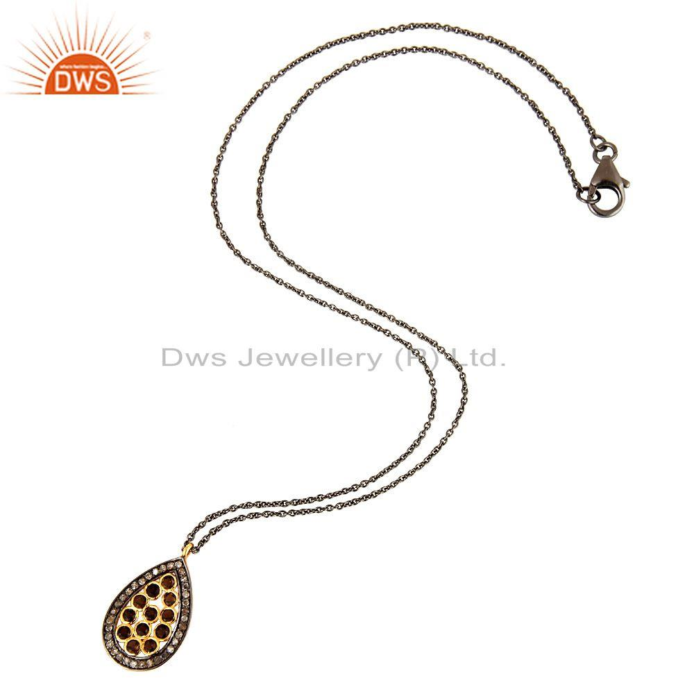 Manufacturer of 18K Gold On Sterling Silver Smoky Quartz & Diamond Pave Drop Pendant With Chain