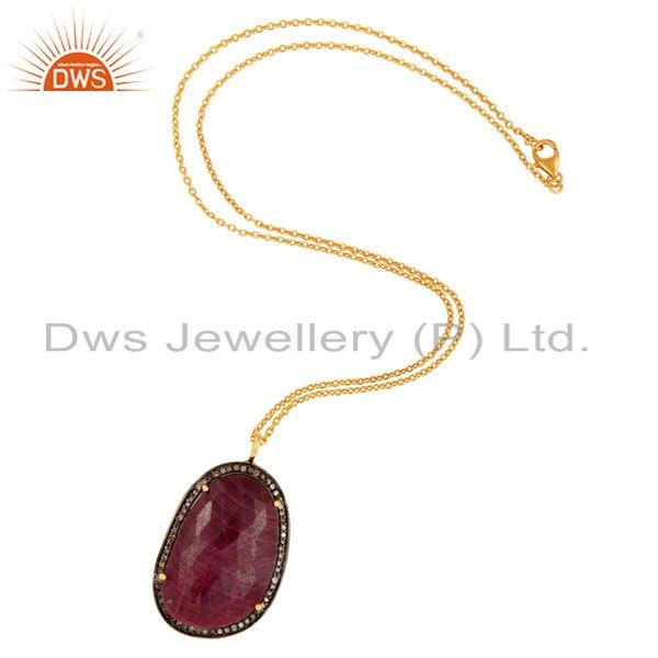 Manufacturer of 18K Gold On Sterling Silver Faceted Ruby Pave Diamond Pendant Necklace