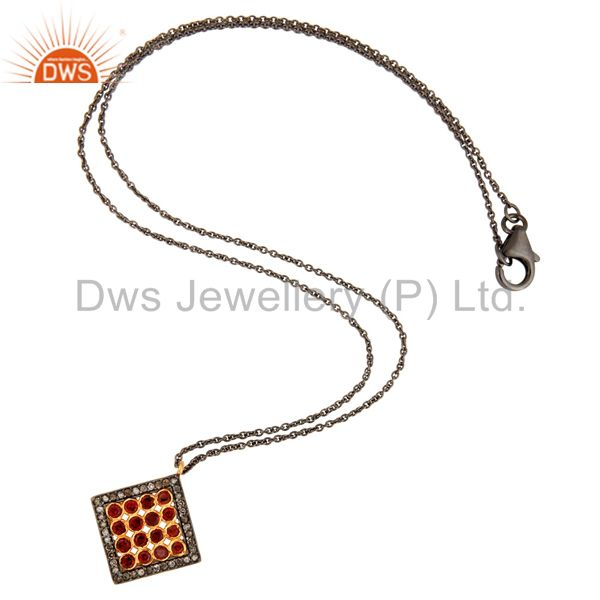 Wholesale Pave Set Diamond Garnet Gemstone Pendant Chain In Rhodium Plated Sterling Silver