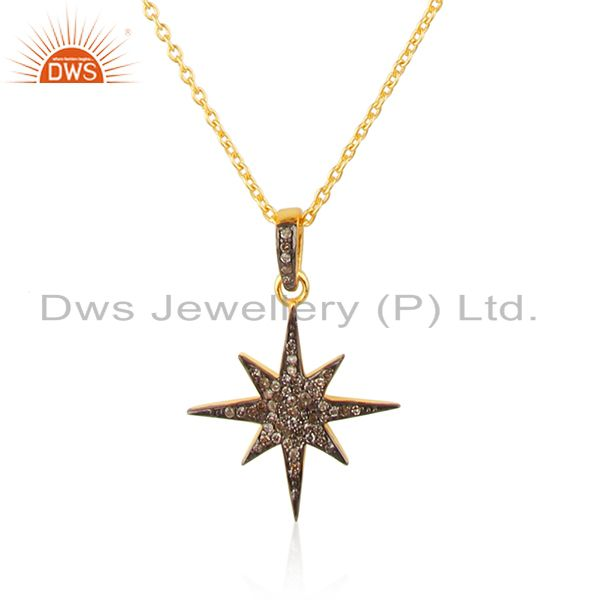 Indian Manufacturer of Designer Sterling 925 Silver Pave Diamond Pendant Manufacturer Jewelry
