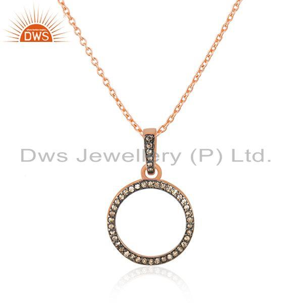 Indian Wholesaler of 14k Rose Gold Plated Sterling Silver Pave Diamond Pendant Wholesaler