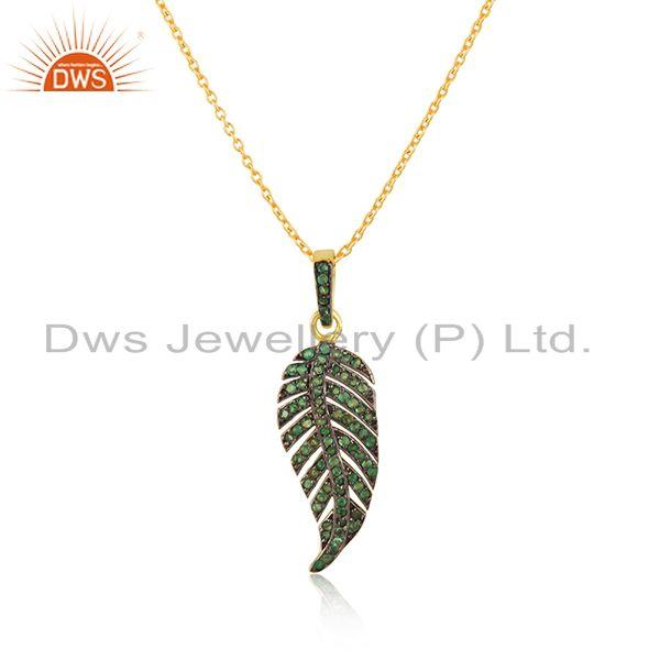 Indian Manufacturer of Gold Plated Sterling Silver Chain Pave Diamond Feather Design Pendant