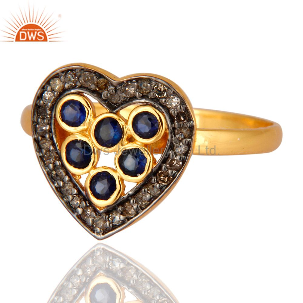 Wholesale Blue Sapphire And Pave Diamond Heart Shaped Ring In 18K Gold On Sterling Silver