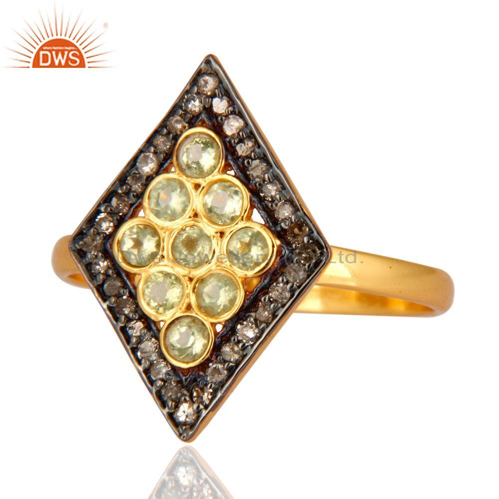 Manufacturer of 18K Yellow Gold Over Sterling Silver Pave Diamond Round Peridot Ring For Women
