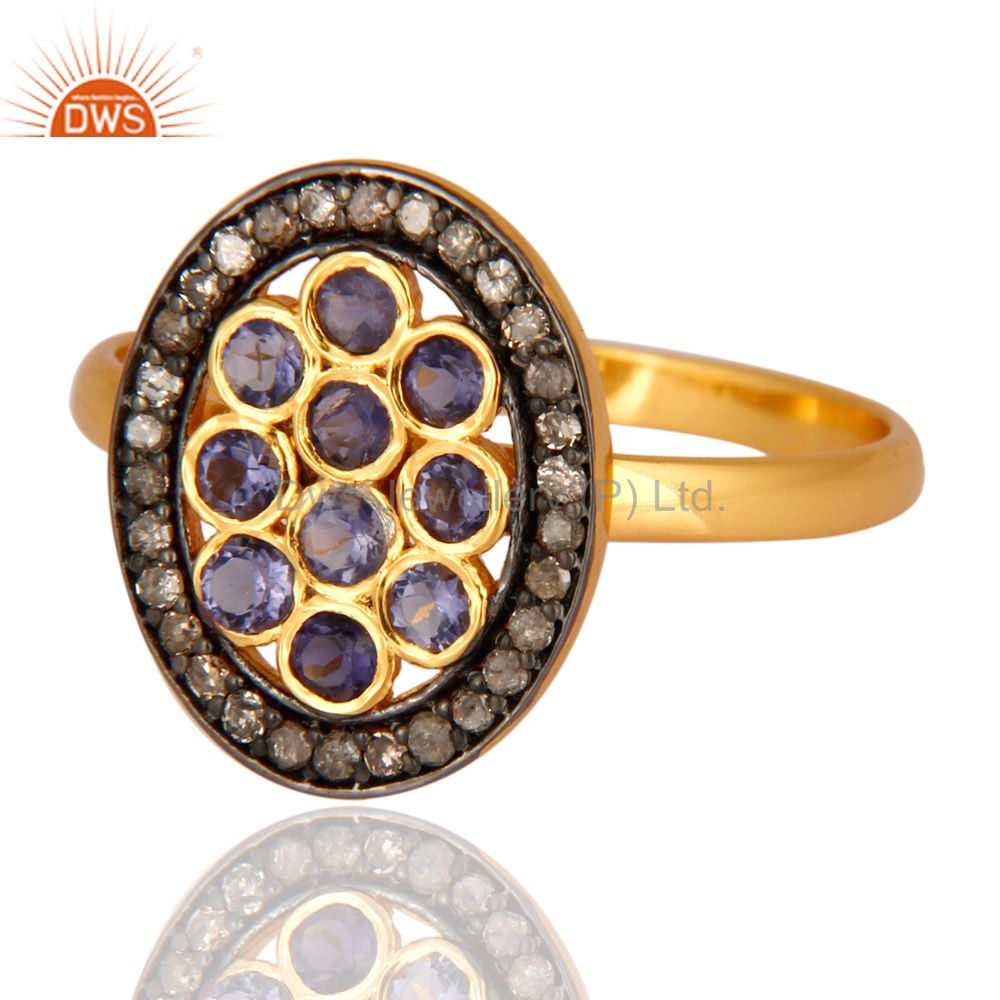 Wholesale 14K Gold Plated 925 Sterling Silver Pave Diamond Iolite Ring Wedding Jewelry