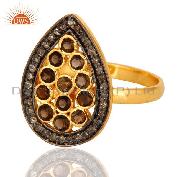Wholesale Handmade Pave Diamond Smoky Quartz 925 Sterling Silver Ring With Gold Plated