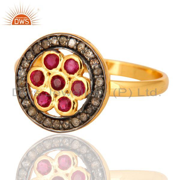 Wholesale Natural Ruby Pave Diamond Ring In 18K Yellow Gold Over Sterling Silver