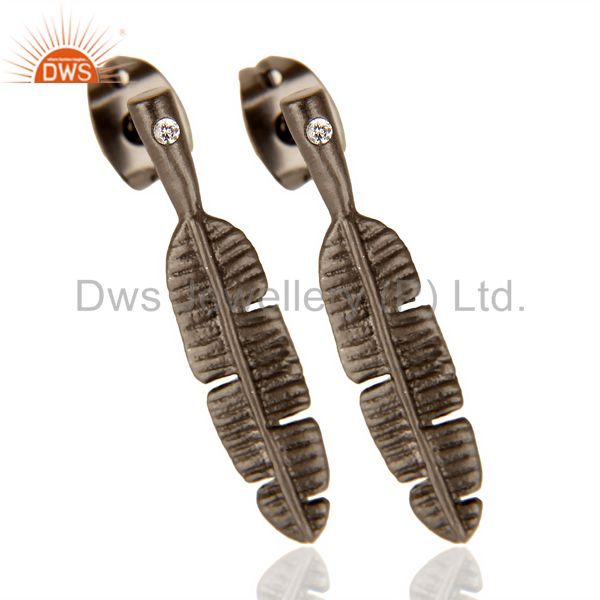 Supplier of Banana Leaf Black Rhodium Plated Tiny Fashion Post Earring