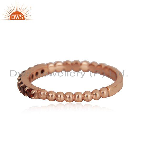 Wholesale Genuine Garnet Gemstone Rose Gold Plated Sterling Silver Band Rings
