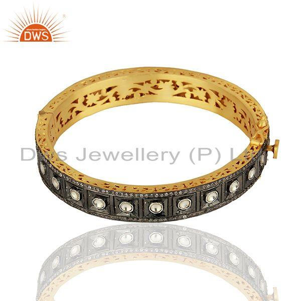 Wholesale 22K Yellow Gold Plated Sterling Silver CZ Crystal Polki Victorian Style Bangle