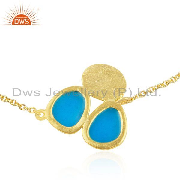 Wholesale Indian Handmade 925 Silver Gold Plated Enamel Chain Bracelet Supplier