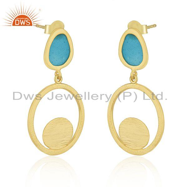 Supplier of Brushed Finish Gold Plated 925 Silver Blue Enamel Handmade Earrings