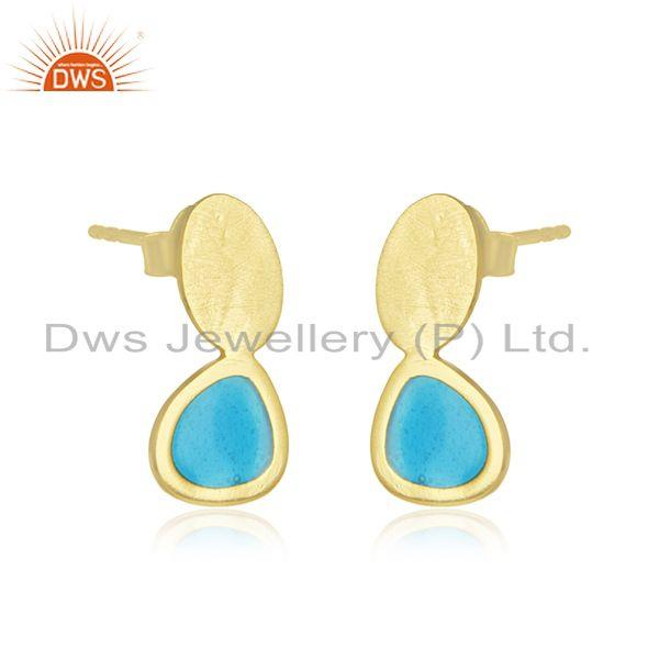 Wholesale Handmade Brushed Finish 925 Sterling Silver Gold Plated Earring
